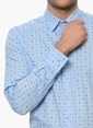 Network Puantiyeli Uzun Kollu Gömlek Mavi
